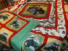 Tractor Quilt Tractor Quilt, Baby Quilts, Tractors, Quilt Patterns, Quilting, Dads, Craft Ideas, Blanket, Sewing