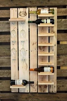 Wooden Pallet Projects Pallet Wine Rack with Glass Holders