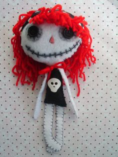 Little Red and Black Goth Rag Doll Raggedy Ann Anne by MyWillies, $18.00