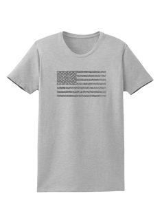TooLoud American Flag Glitter - Silver Womens T-Shirt