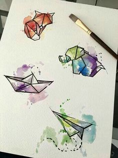 Watercolor Origamis by Javi Wolf - Inspiration - . - Watercolor origami by Javi Wolf – inspiration – - Easy Watercolor, Watercolor Design, Tattoo Watercolor, Watercolor Water, Geometric Watercolor Tattoo, Watercolor Wolf, Watercolor Drawing, Watercolor Animals, Inspiration Art