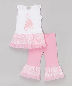 Love this Pink & White Ballet Tunic & Pants - Infant, Toddler & Girls by AnnLoren on #zulily! #zulilyfinds