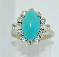 Vintage 18K Persian Turquoise and diamond Ring Beautiful