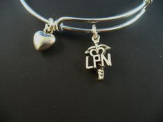 LPN Nurse Charm  Silver Bangle Bracelet Alex and by DesignsBySuzze, $15.00