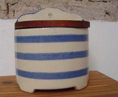 Blue and White Striped Salt Box Cornishware, Spice Labels, Stoneware Crocks, Spice Storage, Salt Box, Spice Rub, Drying Herbs, Vintage China, Seasonal Decor