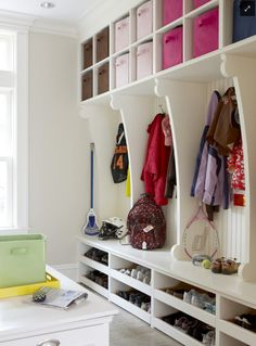 lots of room to organize in this Mud Room. check out the shoe storage.