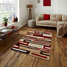 Shop for high quality rugs at great prices. Buy the Matrix FR 40 Modern Rug - Beige, Red at a great price and get free fast delivery. Purple Interior, Interior Paint Colors, Interior Modern, Best Interior, Interior Painting, Contemporary Rugs, Modern Rugs, Modern Lamps, Living Room Paint