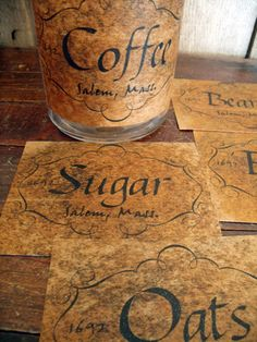 Pantry Labels ~ I do this to old bottles & jars ~ so cute!!