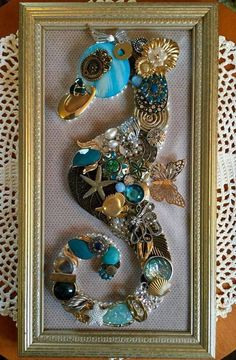 Framed vintage jewelry in the form of a beautiful seahorse! By UpcycledAssemblage on Etsy