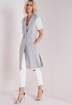 Longline Sleeveless D Ring Blazer Light Grey - Blazers - Missguided