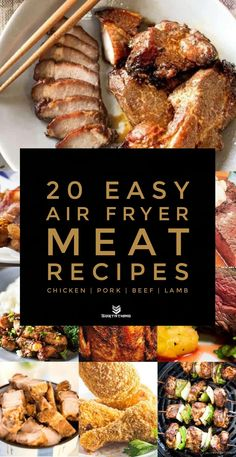 20 Easy Air Fryer Meat Recipes with Chicken, Pork, Beef & Lamb - Sortathing Health Meat Appetizers Appetizers Appetizers keto Appetizers parties Appetizers recipes Air Fryer Oven Recipes, Air Frier Recipes, Air Fryer Dinner Recipes, Air Fryer Rotisserie Recipes, Air Fryer Chicken Recipes, Meat Recipes For Dinner, Cooks Air Fryer, Air Fried Food, Best Air Fryers