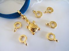 Charm Holder Spacer with Loop Gold Spacer Ring Finding by vess65, $2.65