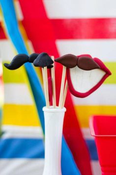 Love the photo booth props at this circus themed birthday party found via www.KarasPartyIdeas.com!