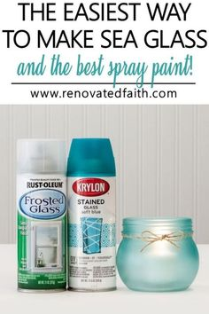 This is the best spray paint to paint flawless DIY sea glass in any color for craft projects, art and coastal home décor. This DIY tutorial shows how to turn glass bottles into green sea glass as well as how to make a mason jar sea glass candle holder with blue paint. This process can also be used to make wind chimes, jewelry, vases and bowls with a step by step video. Painted Glass Bottles, Green Glass Bottles, Glass Bottle Crafts, Sea Glass Crafts, Painted Mason Jars, Decorative Glass Bottles, Diy Painted Vases, Glass Art, Colored Mason Jars