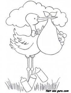 Printable Baby Boy In A Stork Bundle coloring pages for childrens - Printable Coloring Pages For Kids