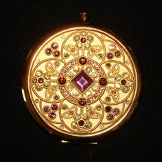 """Beautiful Vintage """"Jeweled""""  Mirrored Compact Case"""