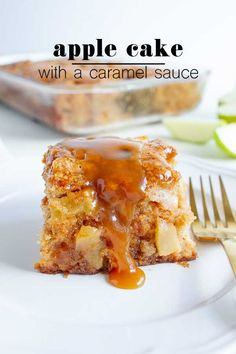Apple Cake With A Caramel Glaze is the most incredible dessert for fall! The moist cake is spiced to perfection and envelopes the most tender apples. It's then drizzled with the easiest caramel glaze to finish it all off. The easiest apple recipe!
