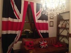 Image result for Curtains made with the Union Jack Stage Curtains, Unique Curtains, Dog Football, Liverpool Home, Union Flags, British American, Curtain Poles, Perfect Christmas Gifts, Union Jack