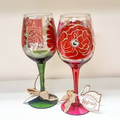 Red Rose Wine Glasses | Appleton Trophy