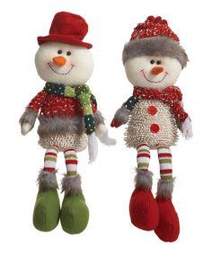 Look at this #zulilyfind! Large Very Merry Snowmen Plush Shelf Sitter - Set of Two #zulilyfinds