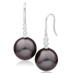 Fliora Pearl and Diamond Drop Earrings in 9ct White Gold image-a