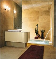 Bathroom, Luxury Modern Bathroom Design With Wall Fountain And Apply Inground Bathtub Also Decorated With Marble Tiles In All Side: Bring Clean Lines And Straight With Modern Bathroom Design