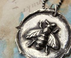 Honey Bee Jewelry Honey Bee Wax Seal Necklace by HappyGoLicky, $52.00