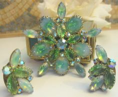 Vintage Estate Aqua Givre Art Glass & Ab Rhinestone Demi Parure W Germany Signed
