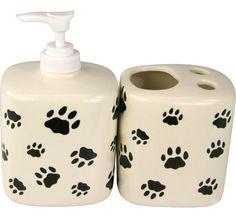 Paw Print Ceramic Soap Dispenser & Toothbrush Holder Bathroom Set - Helps ASPCA #AnimalRescue