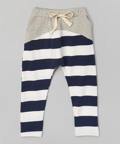 Gray & Navy Stripe Harem Pants
