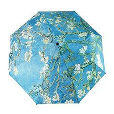 Glodeals Van Gogh Masterpiece Oil Painting Automatic 3 Folding Parasol Sun Protection Anti-UV Umbrella for Women (Almond Blossom) Uv Umbrella, Ladies Umbrella, Compact Umbrella, Travel Umbrella, Folding Umbrella, Under My Umbrella, Van Gogh Almond Blossom, Lace Parasol, Umbrellas Parasols