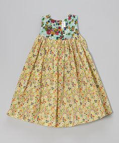 Blue & Yellow Floral Babydoll Dress - Toddler & Girls | Daily deals for moms, babies and kids