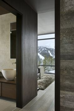 I'll take the bathroom and the view! -Big Sky Vacation Home by Len Cotsovolos and LC²Design