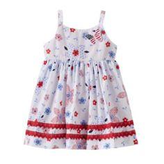 Blueberi Boulevard Patriotic Flower Dress - Baby Girl