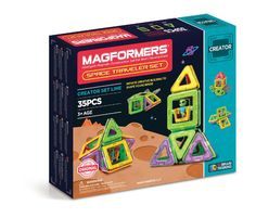 Magformers Space Traveler Set (35 PCS) - Create 3D structures from 2D nets with the Space Traveler 35Pc Set. Use squares and triangles to build space ships and shuttles. Add Magformers alien character to your builds and fly around planet Tetrahedron. Learn 3D shapes and build using combine, roll and pull-up techniques and see what your imagination can create!