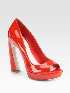 Miu Miu Patent Leather Peep Toe Flared Heel Pumps