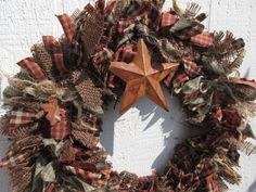 Rag Garland and Wreath SET Brown Rustic Fall Burlap Homespun Fabric Jute Rustic Primitive Decor
