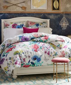 Beautiful Blooms Bedding Beautiful Blooms Bedding:This duvet cover's floral design was hand-painted to bring unique and beautiful blooms to your bed. Woven of pure cotton percale, it's a denser weave than other cotton fabrics and wears well over time.