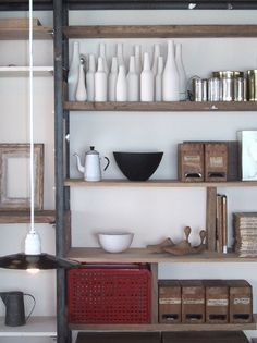 I love this shelving - rough and wide