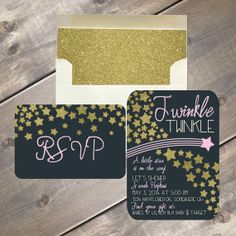 Twinkle Twinkle Little Star Invitation, baby shower package, gold stars and envelope liner, navy background with pink or blue accent colors by EvergreenandWillow