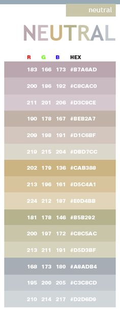 Neutral color schemes, color combinations, color palettes for print (CMYK) and Web (RGB + HTML) Neutral Color Scheme, Color Palate, Colour Schemes, Color Patterns, Color Combinations, Neutral Tones, Color Tones, Neutral Palette, Rgb Palette