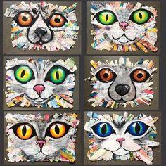 Art Room Britt: Oversized Cat and Dog Mixed-Media Collages - Art Education ideas Collage Kunst, Art Du Collage, Kids Collage, Programme D'art, Classe D'art, 6th Grade Art, Ecole Art, Art Curriculum, School Art Projects