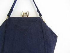 Navy Corde Purse 1940s Handbag Vintage 40s By Bluefennel 42 00 Handbags