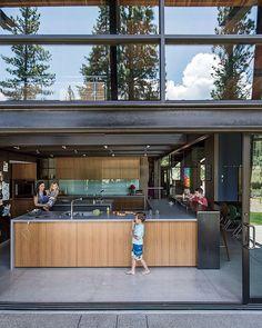 Bancroft residence open kitchen with sliding doors.
