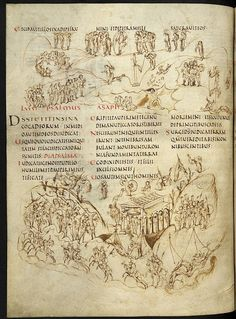 Psalm 81 of the Utrecht Psalter, a ninth-century illuminated psalter and a key masterpiece of Carolingian art. It is famous for its 166 lively pen illustrations. Utrecht, Medieval Life, Medieval Art, Medieval Manuscript, Illuminated Manuscript, Statues, Art Timeline, Carolingian, Pen Illustration