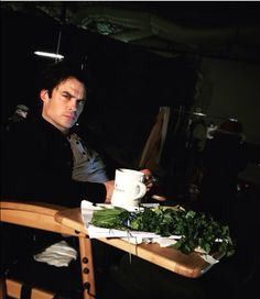 Ian on the TVD set 26/2/16 snacking on greens as usual. He eats every hour, showers 3 times a day, has a non-stop schedule, and has a new idea every minute - think he might be right about being high maintenance?