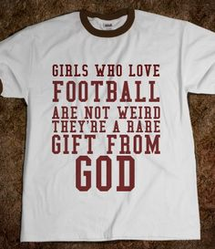 GIRLS WHO LOVE FOOTBALL I want this shirt and football season back.he is so happy to have a hippy gypsy football chick to share the love of the game.and our Winnipeg Blue Bomber Team! Football Love, Football Is Life, Football Girls, Football Season, College Football, Football Team, Football Quotes, Football Stuff, Coaches Wife