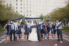 The 'Supporter's Group' Bridal Party. Complete with scarves! #Soccer #Wedding laura+eddie Photo By coily photos