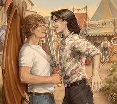 "Happy Valentine's Day from the original ""Long & Broad"" (aka. Baz and Simon)! (Because nothing says ""I still love you"" like a duel at a Renaissance Faire. Fanart, Simon Snow, Lgbt, Carry On Book, You Are The Sun, Rainbow Rowell, Wolfstar, Renaissance Fair, Watford"