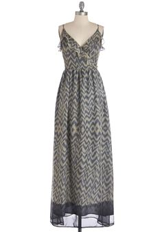 Size L What's the Bungalow Down? Dress. Once you get the scoop on this evenings beach activities, take a sec to swap your bathing suit and sandals for strappy flats and this maxi dress!  #modcloth